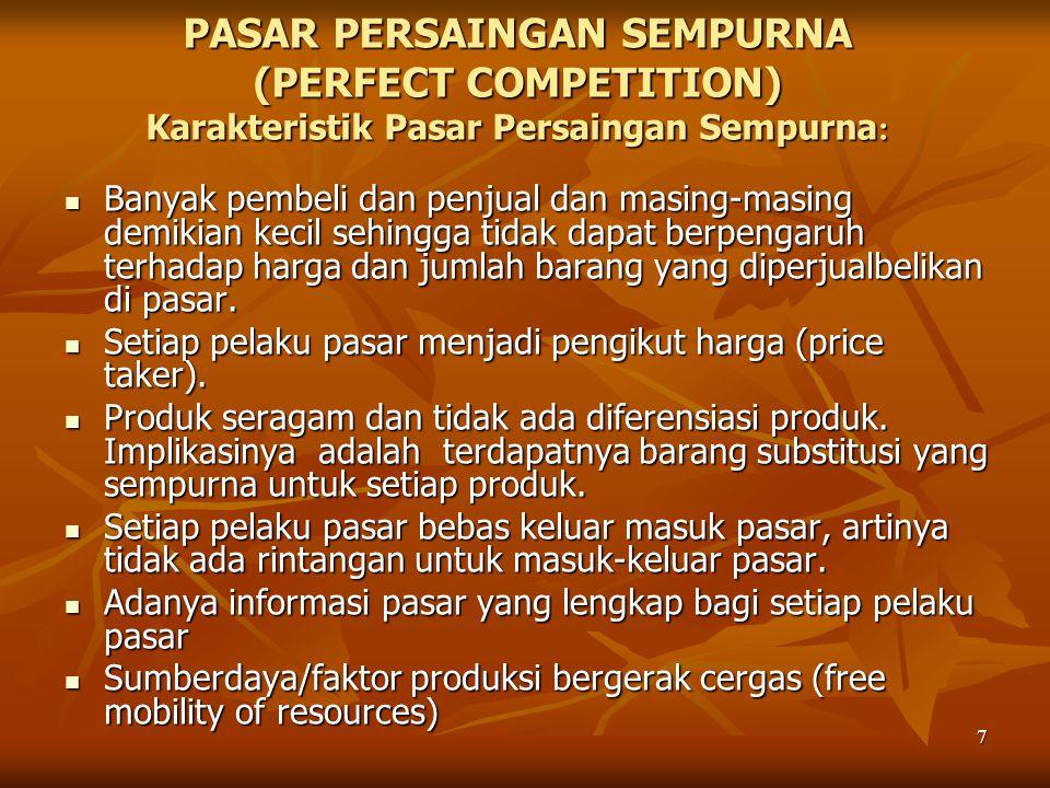 PASAR PERSAINGAN SEMPURNA (PERFECT COMPETITION) Karakteristik Pasar Persaingan Sempurna: