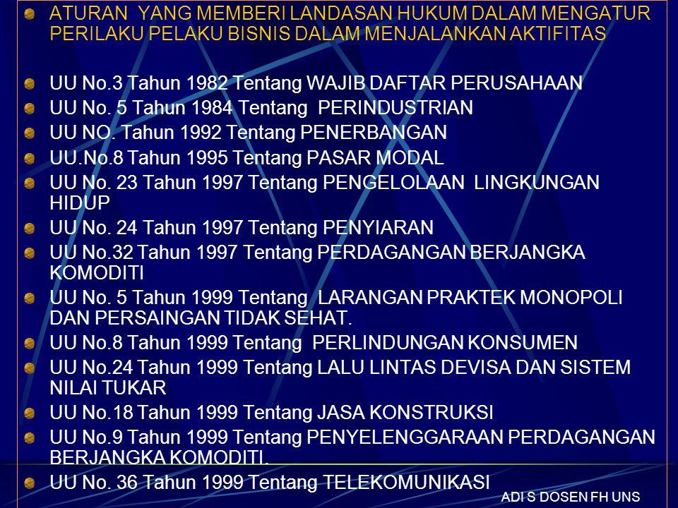 UU No.3 Tahun 1982 Tentang WAJIB DAFTAR PERUSAHAAN
