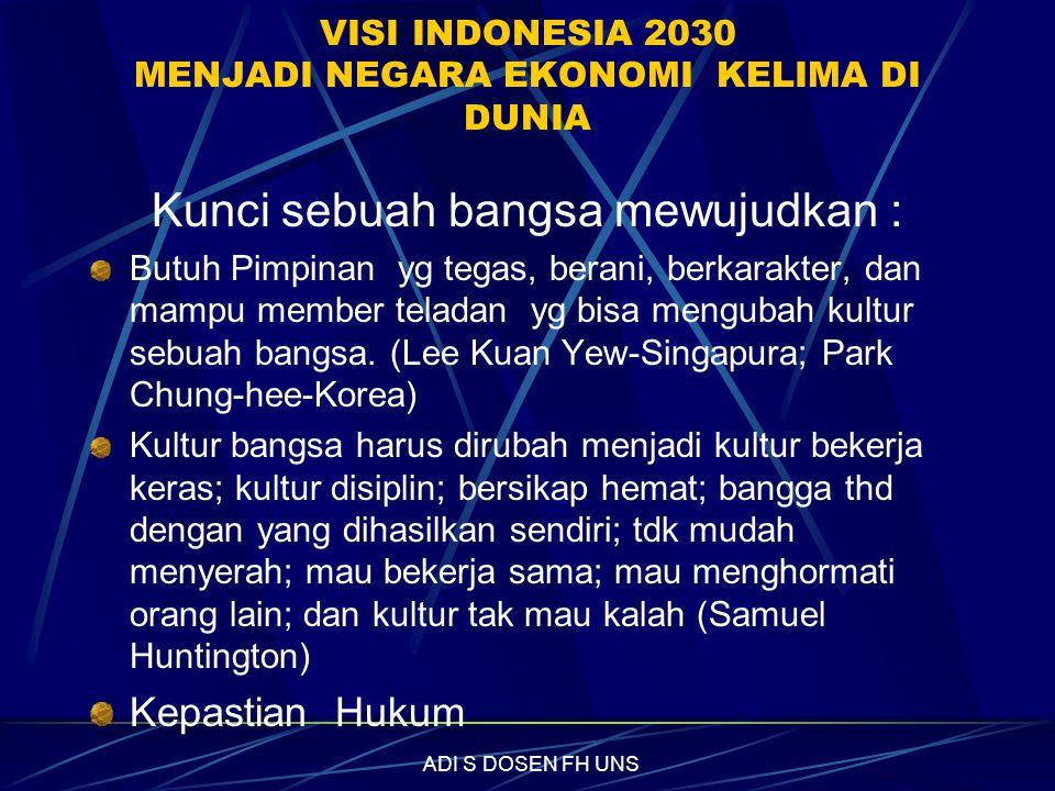 VISI INDONESIA 2030 MENJADI NEGARA EKONOMI KELIMA DI DUNIA