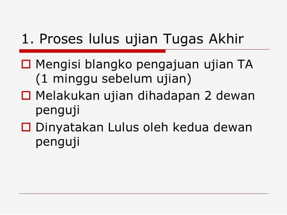 1. Proses lulus ujian Tugas Akhir