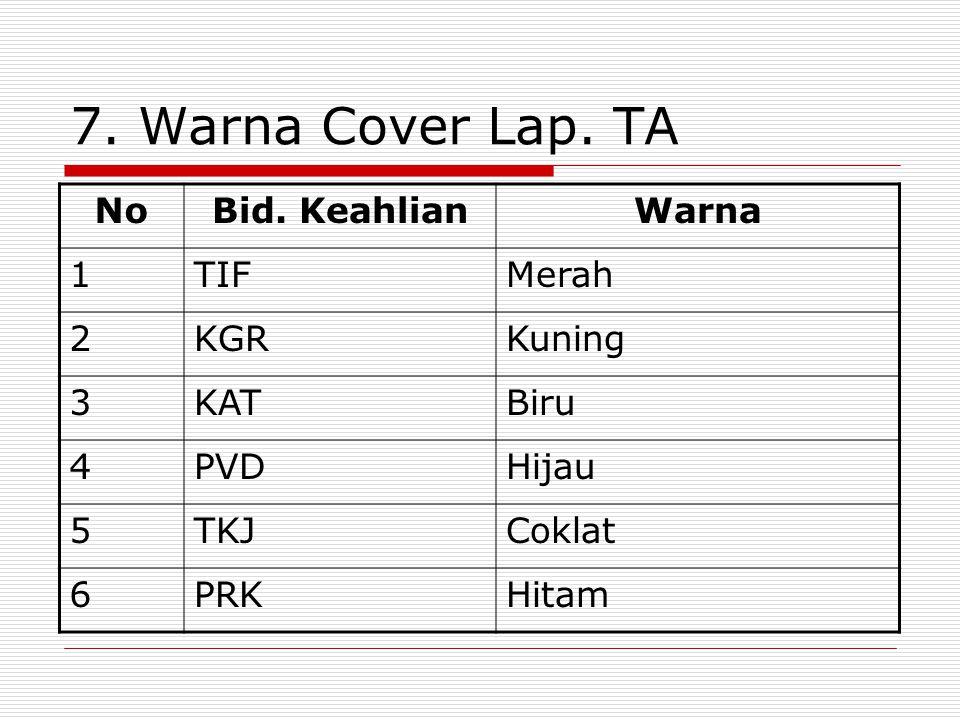 7. Warna Cover Lap. TA No Bid. Keahlian Warna 1 TIF Merah 2 KGR Kuning