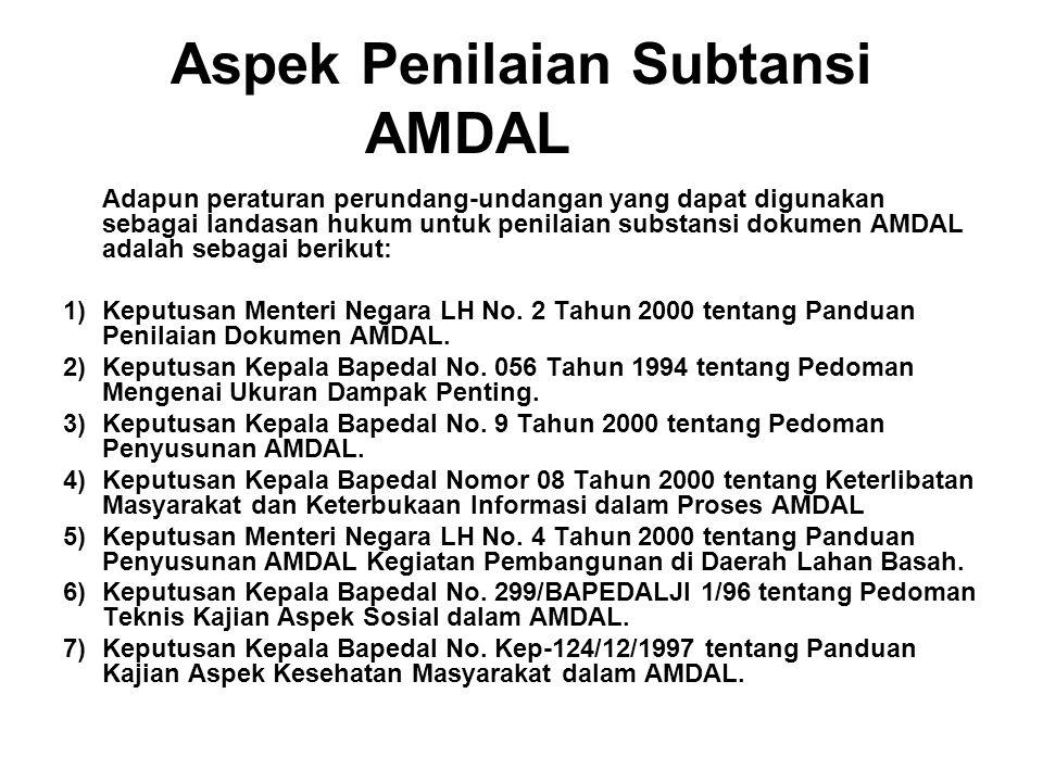 Aspek Penilaian Subtansi AMDAL
