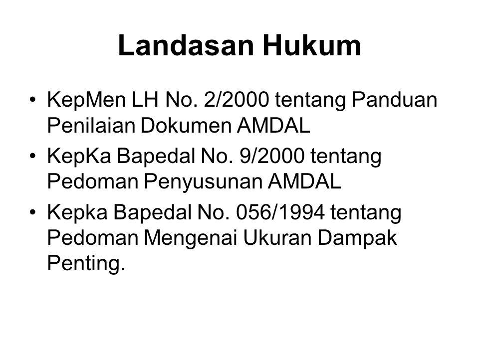 Landasan Hukum • KepMen LH No. 2/2000 tentang Panduan Penilaian Dokumen AMDAL. • KepKa Bapedal No. 9/2000 tentang Pedoman Penyusunan AMDAL.