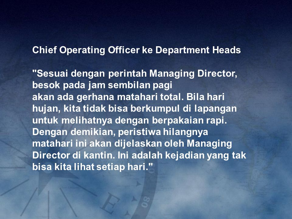 Chief Operating Officer ke Department Heads