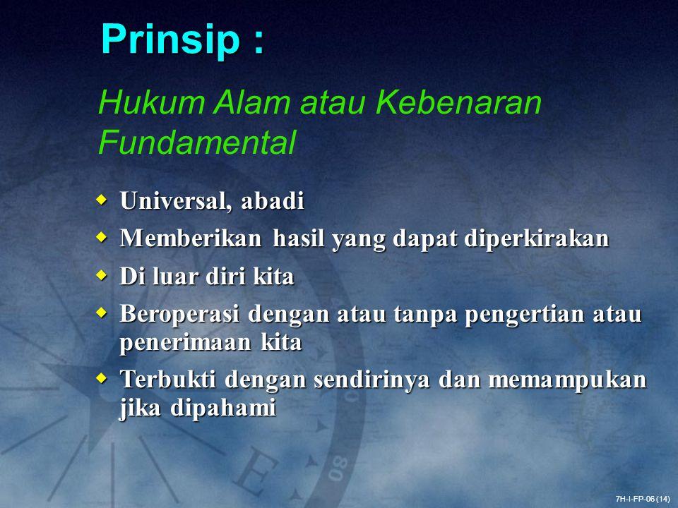 Prinsip : Hukum Alam atau Kebenaran Fundamental Universal, abadi