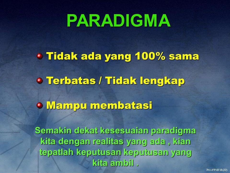 PARADIGMA Tidak ada yang 100% sama Terbatas / Tidak lengkap