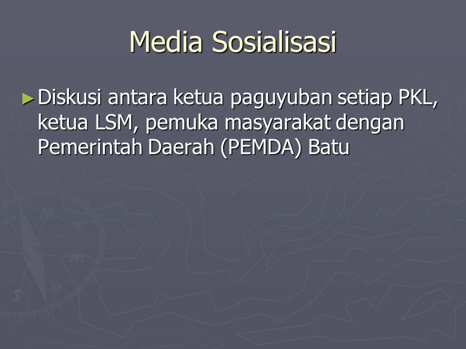 Media Sosialisasi Diskusi antara ketua paguyuban setiap PKL, ketua LSM, pemuka masyarakat dengan Pemerintah Daerah (PEMDA) Batu.