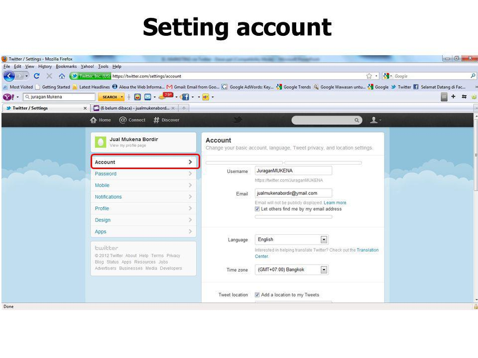 Setting account