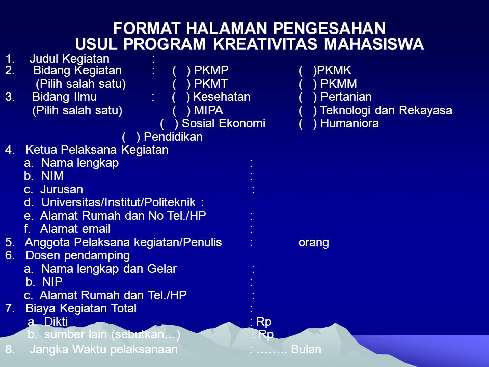 USUL PROGRAM KREATIVITAS MAHASISWA