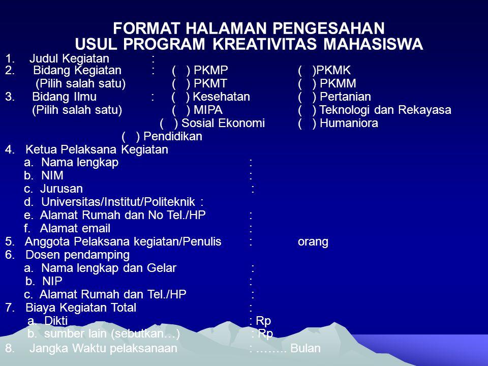 USUL PROGRAM KREATIVITAS MAHASISWA