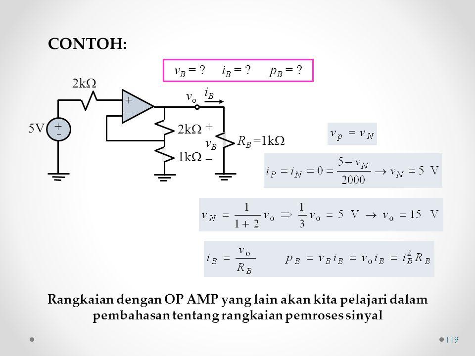 CONTOH: vB = iB = pB = 2k iB vo 5V vB RB =1k 1k