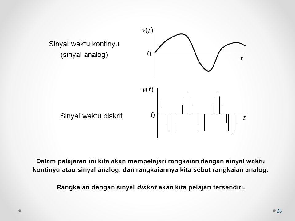 Rangkaian dengan sinyal diskrit akan kita pelajari tersendiri.