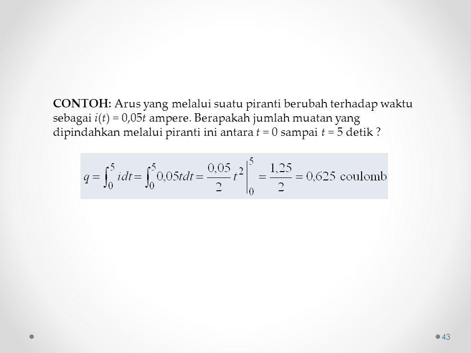 CONTOH: Arus yang melalui suatu piranti berubah terhadap waktu sebagai i(t) = 0,05t ampere.