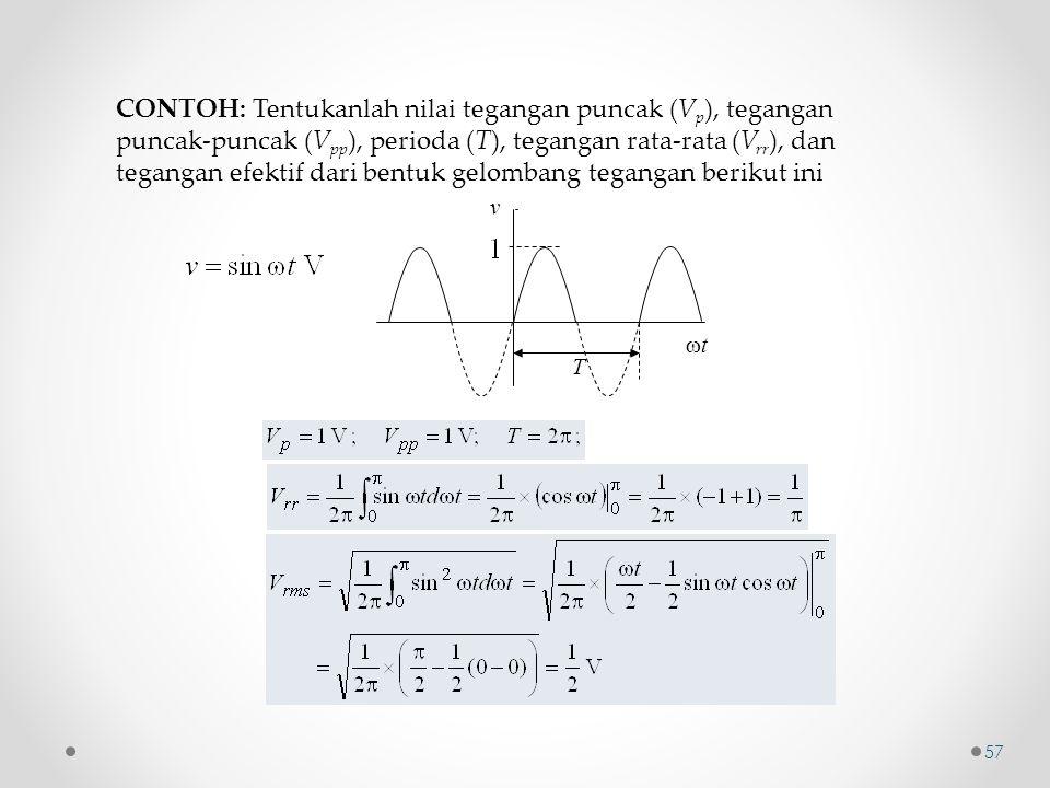 CONTOH: Tentukanlah nilai tegangan puncak (Vp), tegangan puncak-puncak (Vpp), perioda (T), tegangan rata-rata (Vrr), dan tegangan efektif dari bentuk gelombang tegangan berikut ini