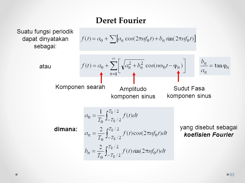 Deret Fourier Suatu fungsi periodik dapat dinyatakan sebagai: atau