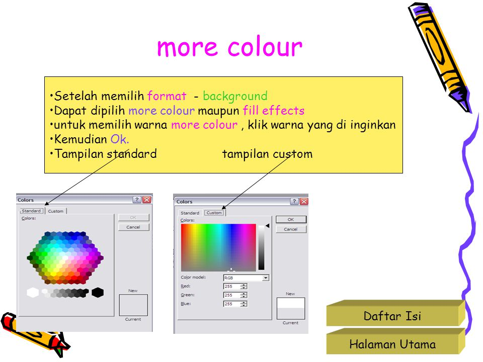 more colour Setelah memilih format - background