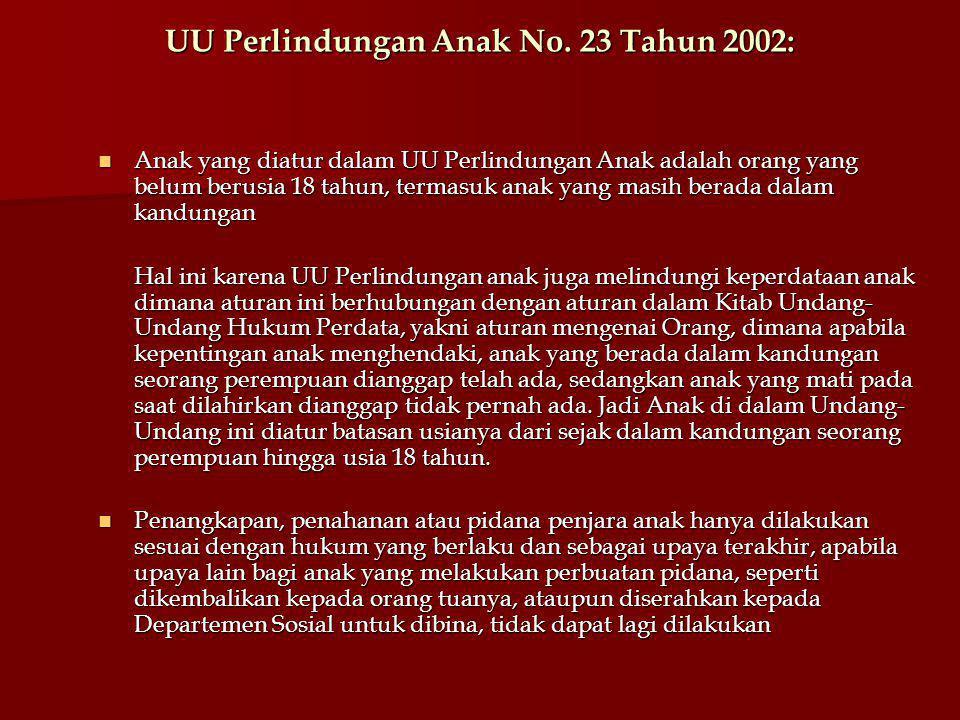 UU Perlindungan Anak No. 23 Tahun 2002: