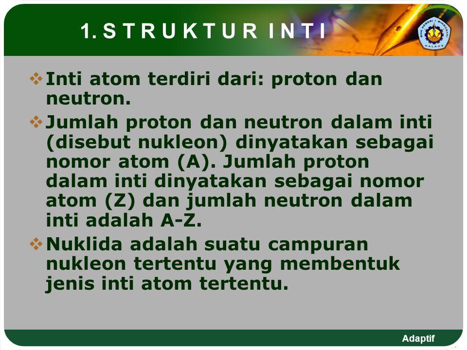 1. S T R U K T U R I N T I Inti atom terdiri dari: proton dan neutron.