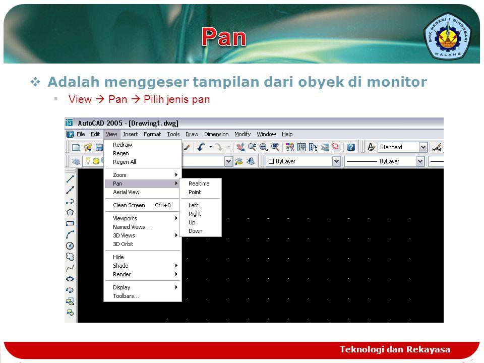 Pan Adalah menggeser tampilan dari obyek di monitor