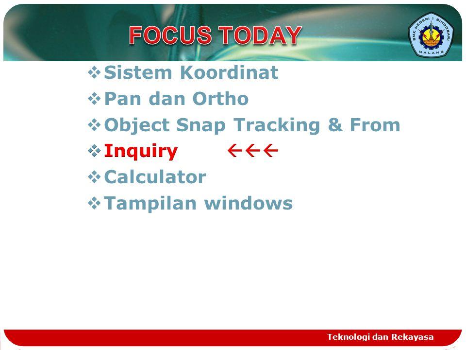 FOCUS TODAY Sistem Koordinat Pan dan Ortho Object Snap Tracking & From