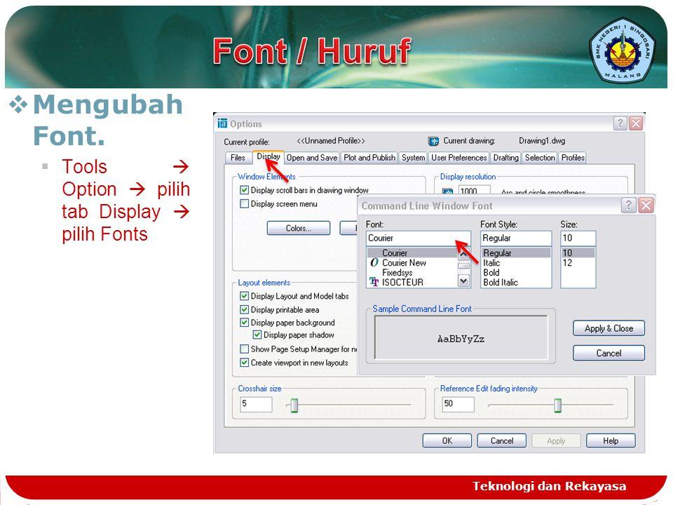 Font / Huruf Mengubah Font.