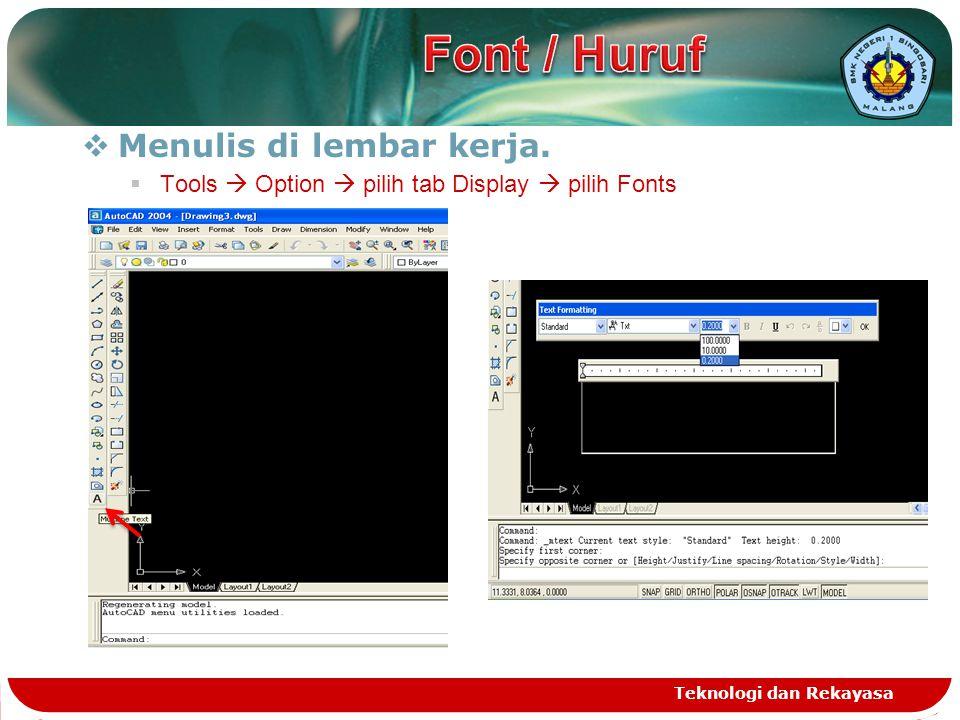 Font / Huruf Menulis di lembar kerja.