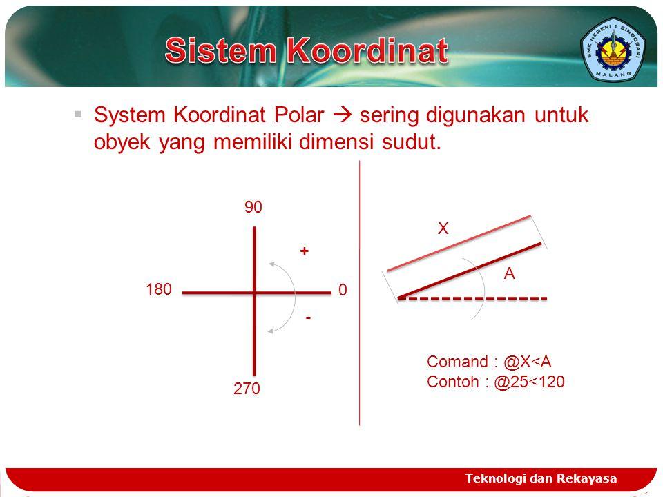 Sistem Koordinat System Koordinat Polar  sering digunakan untuk obyek yang memiliki dimensi sudut.