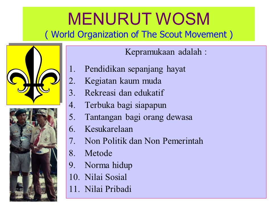 MENURUT WOSM ( World Organization of The Scout Movement )