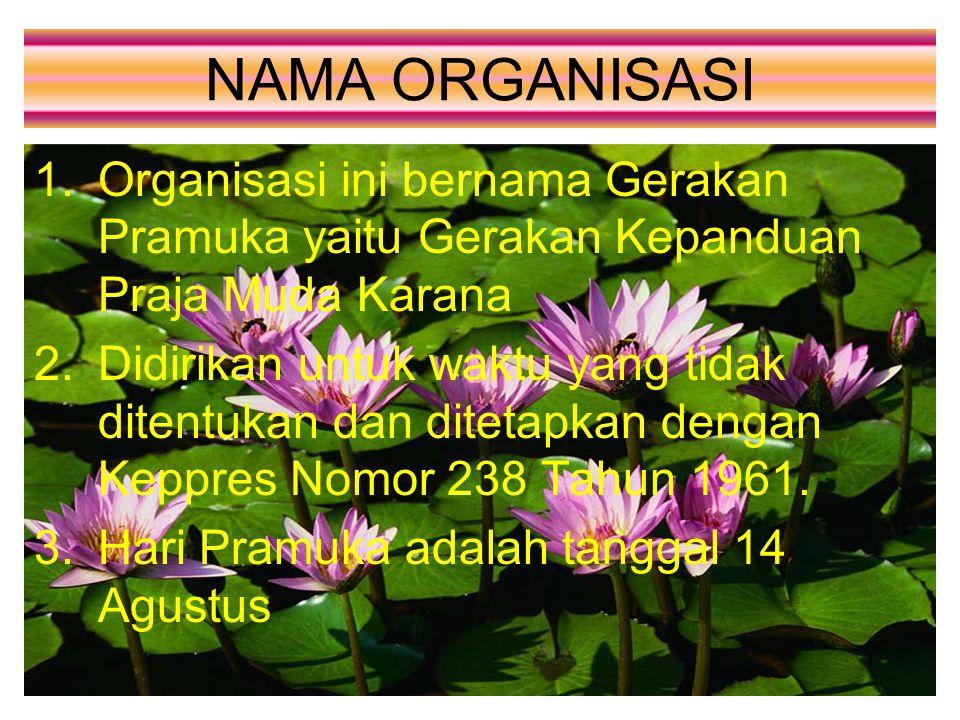 NAMA ORGANISASI Organisasi ini bernama Gerakan Pramuka yaitu Gerakan Kepanduan Praja Muda Karana.