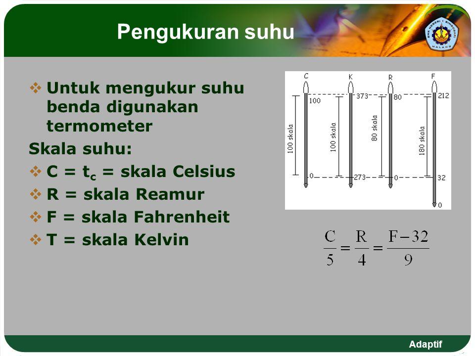 Pengukuran suhu Untuk mengukur suhu benda digunakan termometer