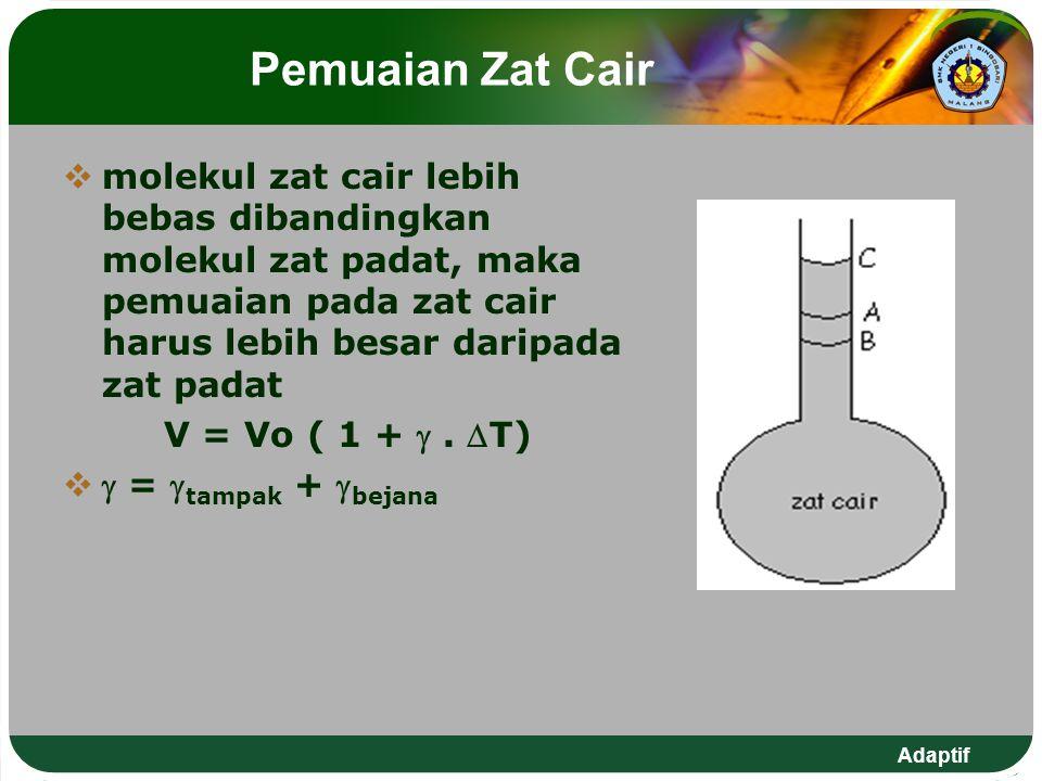 Pemuaian Zat Cair molekul zat cair lebih bebas dibandingkan molekul zat padat, maka pemuaian pada zat cair harus lebih besar daripada zat padat.