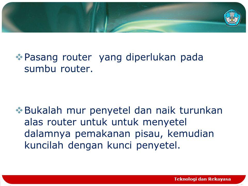Pasang router yang diperlukan pada sumbu router.