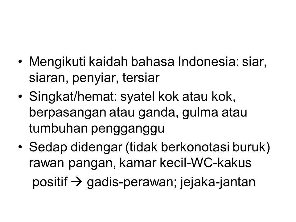 Mengikuti kaidah bahasa Indonesia: siar, siaran, penyiar, tersiar