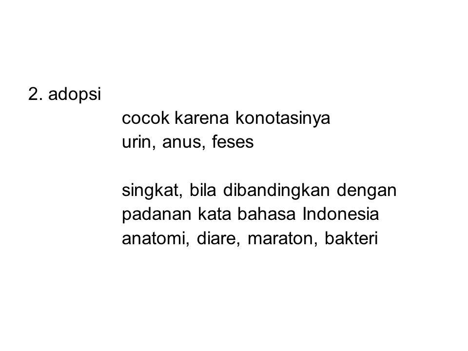 2. adopsi cocok karena konotasinya. urin, anus, feses. singkat, bila dibandingkan dengan. padanan kata bahasa Indonesia.