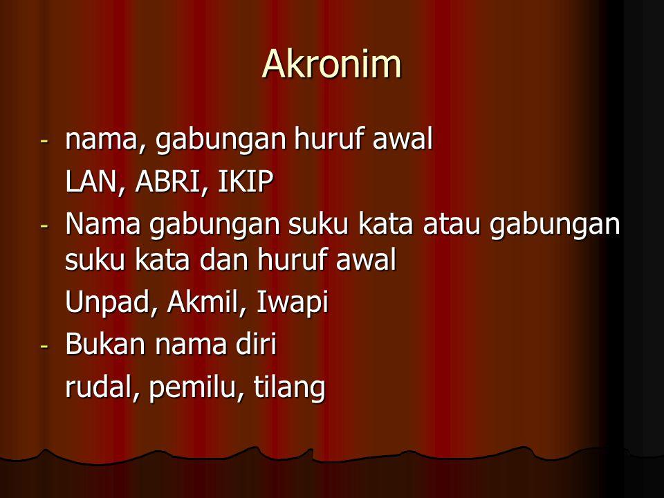 Akronim nama, gabungan huruf awal LAN, ABRI, IKIP