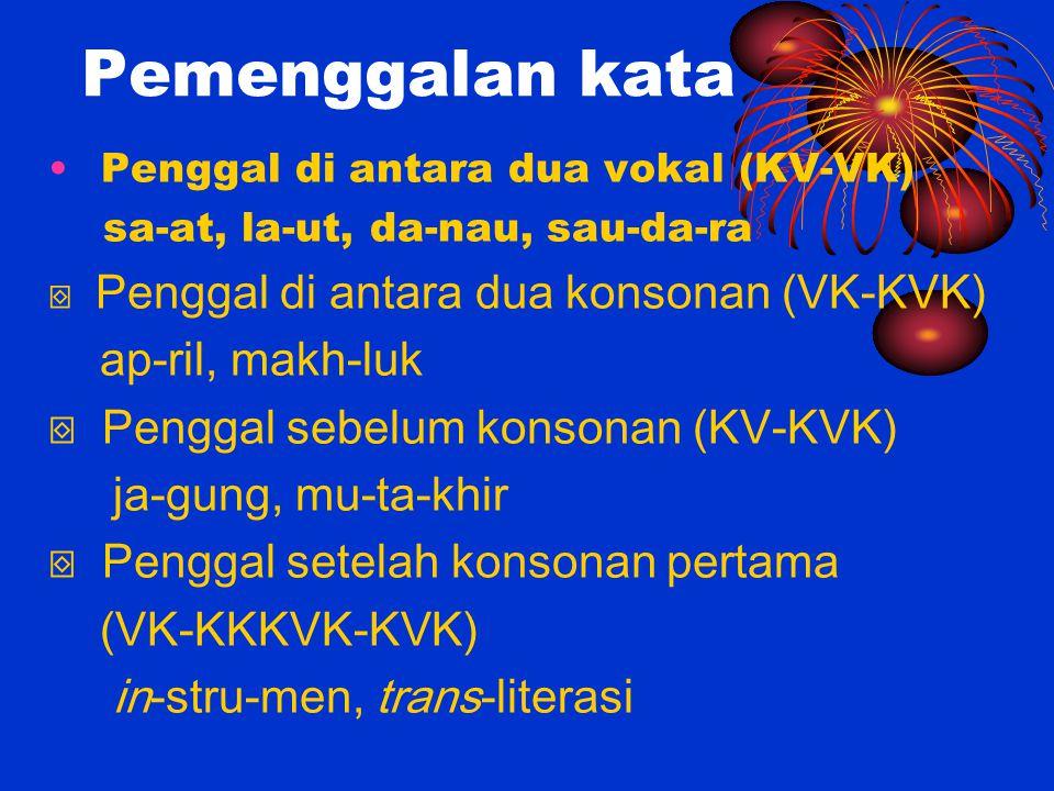 Pemenggalan kata ap-ril, makh-luk ⌺ Penggal sebelum konsonan (KV-KVK)