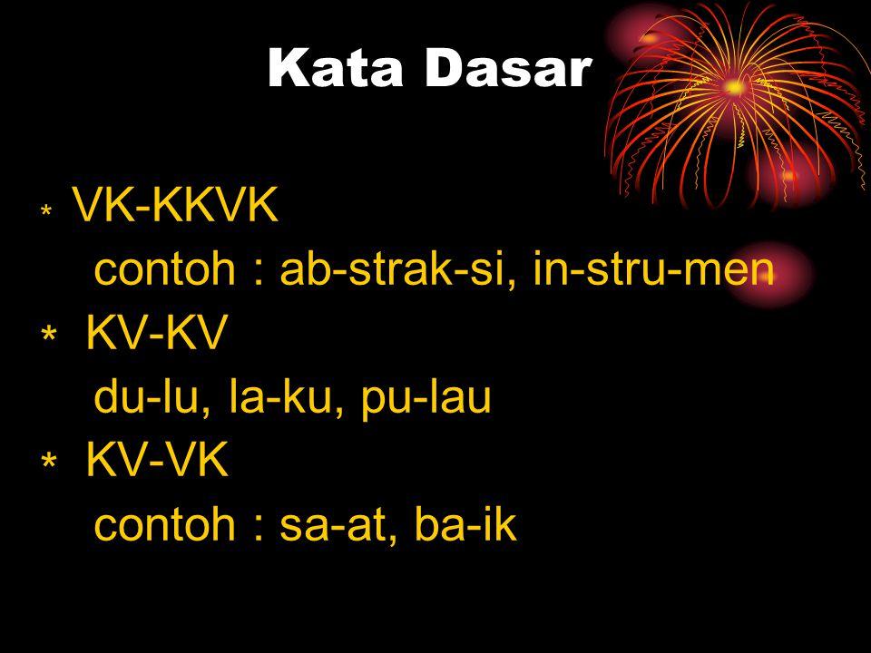 Kata Dasar contoh : ab-strak-si, in-stru-men ∗ KV-KV