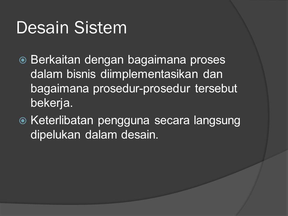 Desain Sistem Berkaitan dengan bagaimana proses dalam bisnis diimplementasikan dan bagaimana prosedur-prosedur tersebut bekerja.