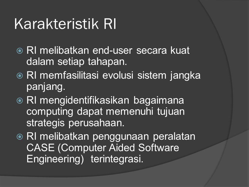 Karakteristik RI RI melibatkan end-user secara kuat dalam setiap tahapan. RI memfasilitasi evolusi sistem jangka panjang.