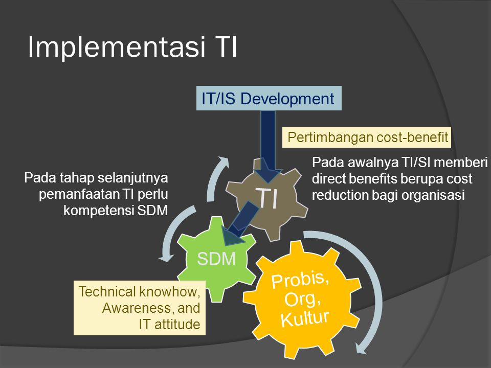 Implementasi TI TI Probis, Org, Kultur SDM IT/IS Development