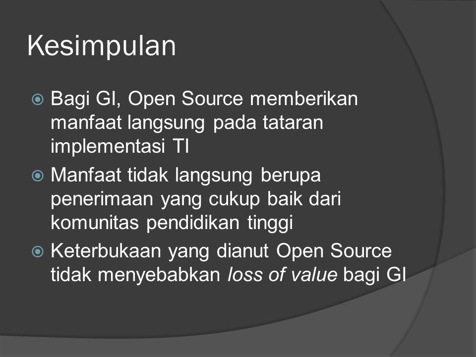 Kesimpulan Bagi GI, Open Source memberikan manfaat langsung pada tataran implementasi TI.