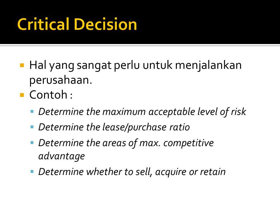 Critical Decision Hal yang sangat perlu untuk menjalankan perusahaan.