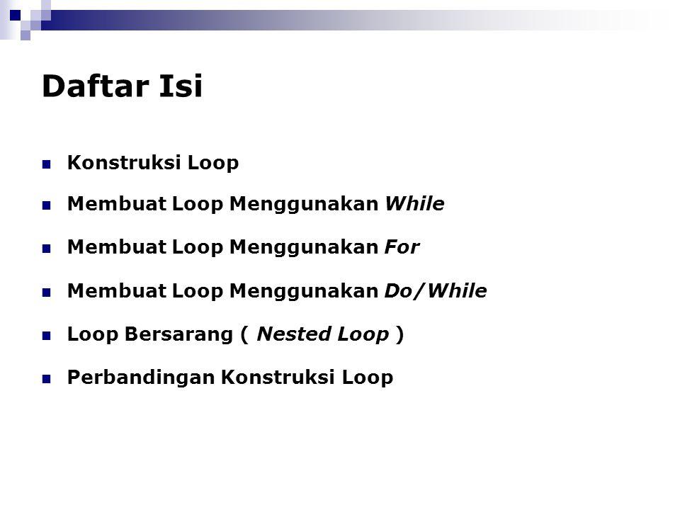Daftar Isi Konstruksi Loop Membuat Loop Menggunakan While