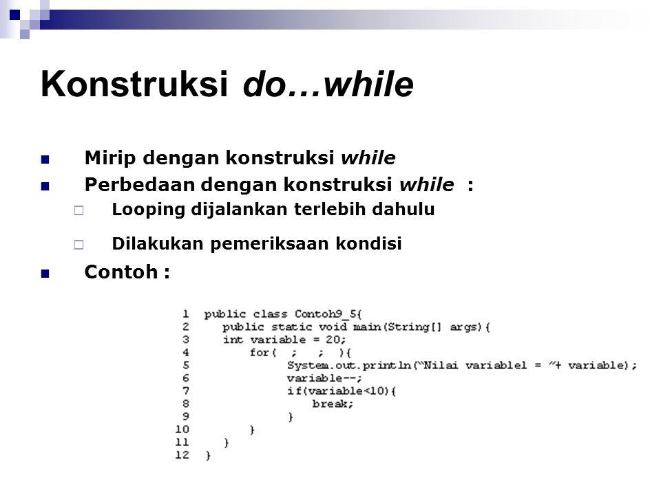 Konstruksi do…while Mirip dengan konstruksi while
