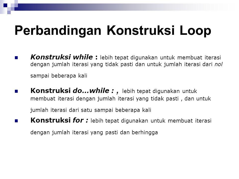 Perbandingan Konstruksi Loop