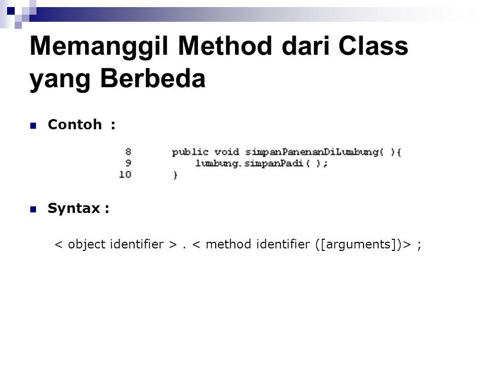 Memanggil Method dari Class yang Berbeda