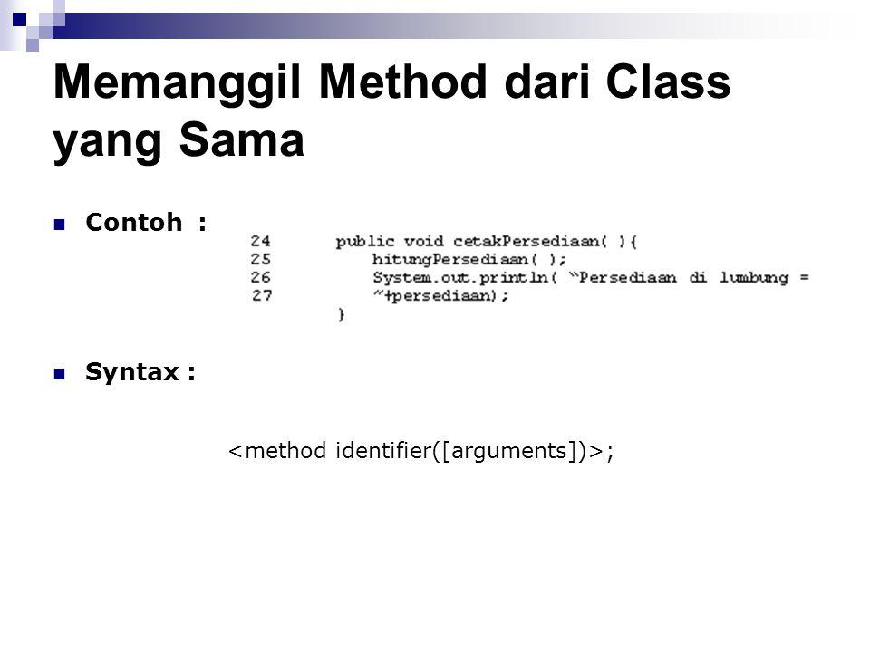 Memanggil Method dari Class yang Sama
