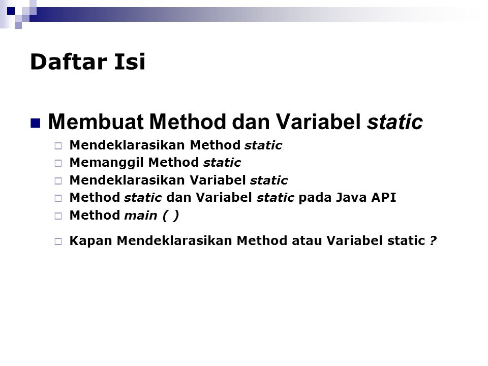 Membuat Method dan Variabel static