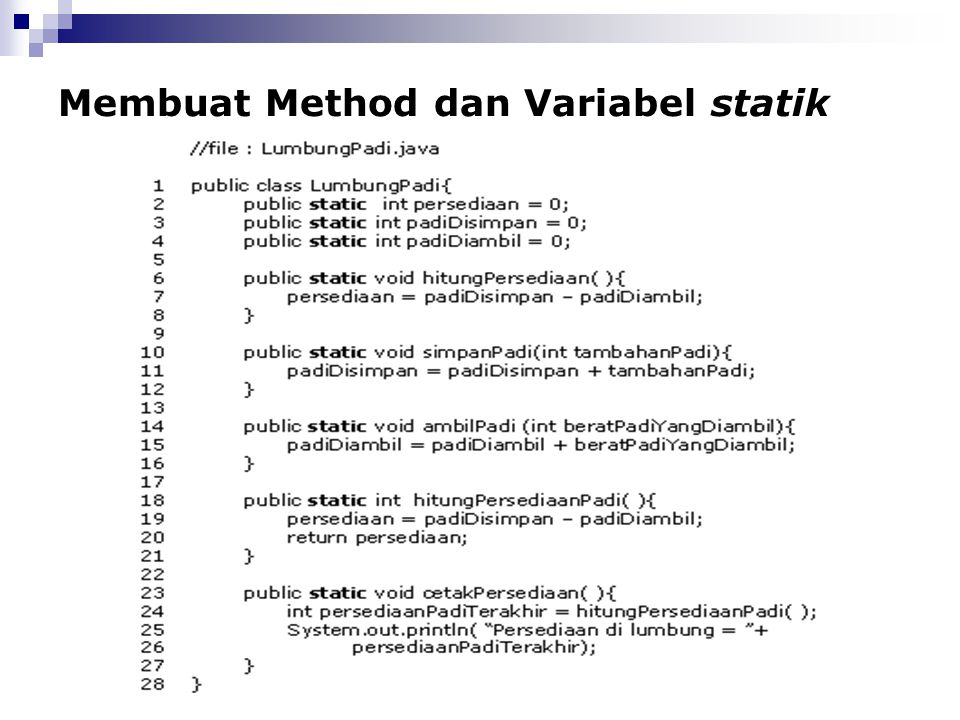 Membuat Method dan Variabel statik