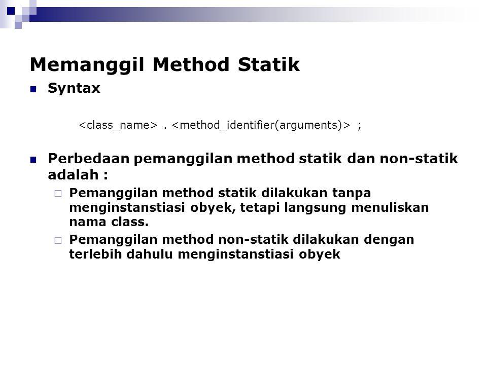 Memanggil Method Statik